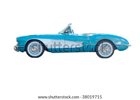 Retro blue car - stock photo