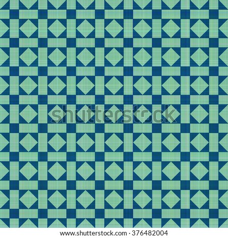Retro blue-green ornate mosaic seamless plaid, raster version