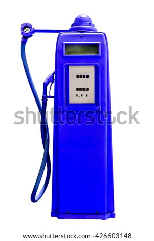 retro blue petrol gasoline pump isolated in white background,clipping path - stock photo