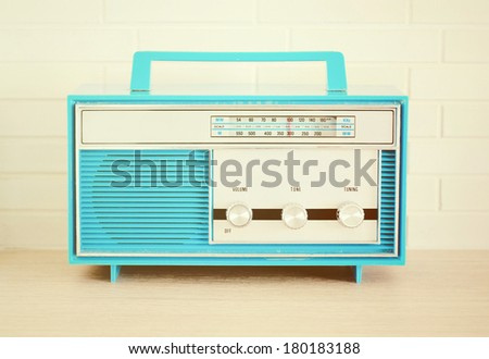 Retro Blue Radio - stock photo