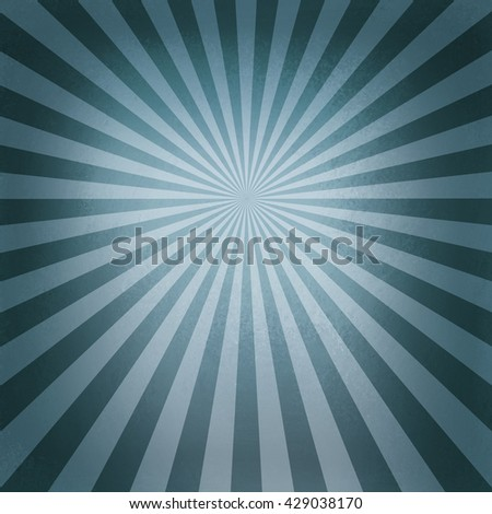 retro blue starburst pattern, old abstract background design, radial lines with bright center and dark border - stock photo