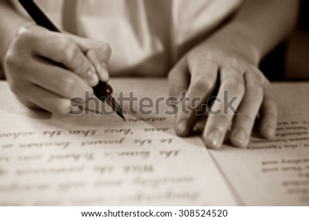 Retro  blur effect faded and toned image  girl writing a note fountain pen antique handwritten letter page document poet journalist lawyer business plan study contract letter pen memory report - stock photo