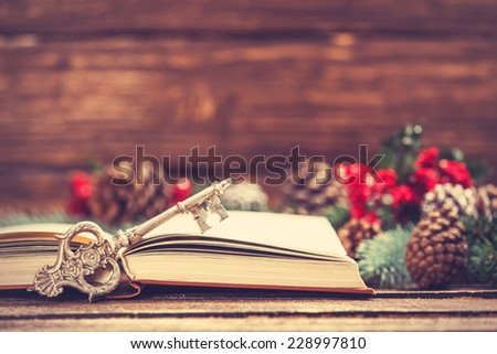 Retro book and key near Pine branches on a table. - stock photo