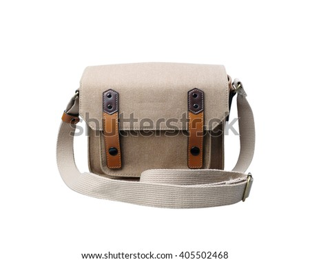Retro Brown camera bag isolated on white background.
