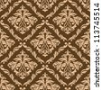 Retro brown seamless background with floral elements. Vector version also available in gallery - stock