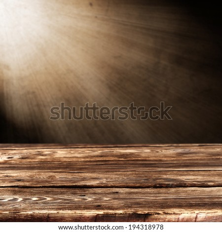 retro brown table with wall of light of lamp and empty decoration  - stock photo