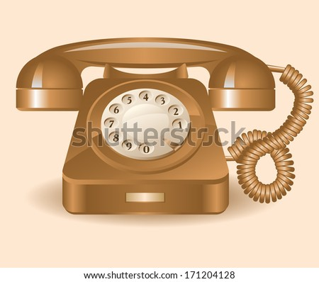 Retro brown telephone on a beige background. Raster version