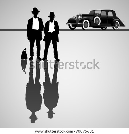 Retro businessmen with retro car.Raster version - stock photo