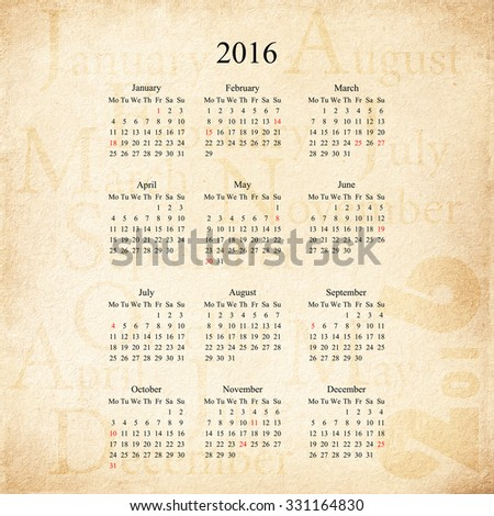 Retro Calendar 2016 Design Template. Week Starts Monday - stock photo