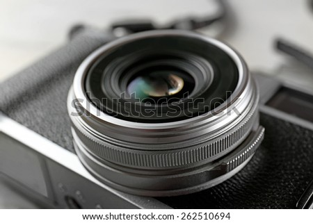 Retro camera, closeup - stock photo