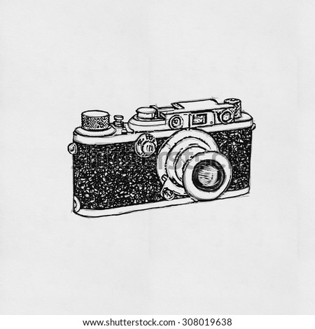 retro camera drawing on paper - stock photo