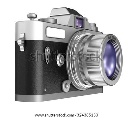 Retro camera isolated on white background  - stock photo