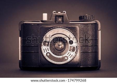 retro camera shot with vignette - stock photo