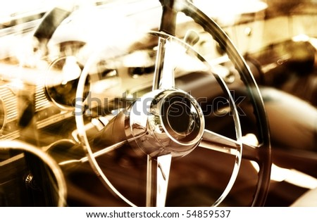 Retro car fragment - stock photo
