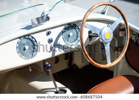 Retro car produced in 1952 dashboard and steering wheel