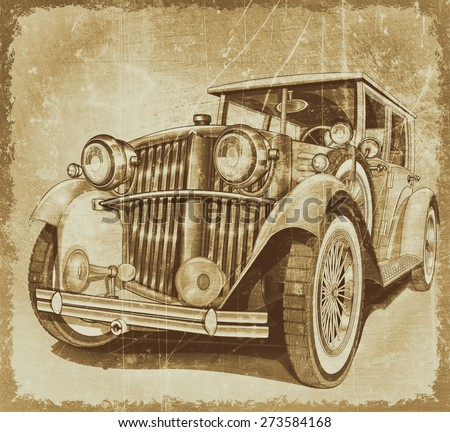 Retro car.Vintage background. - stock photo