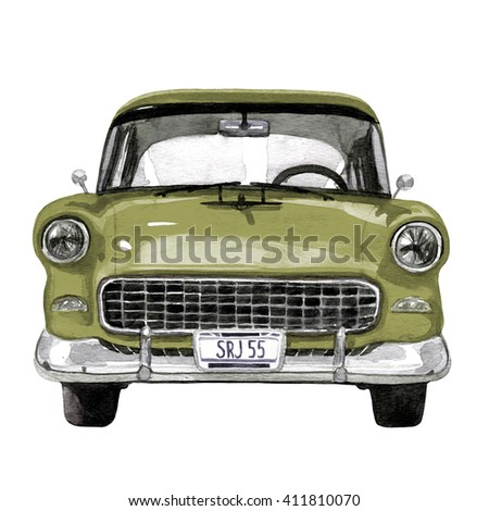 Retro car, watercolor hand drawn illustration, retro-mobile