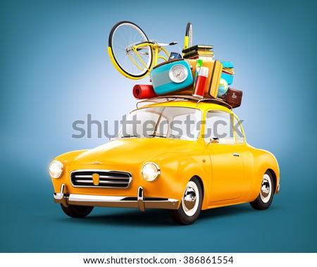 Retro car with luggage. Unusual  travel illustration  - stock photo