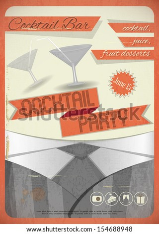 Retro card. Invitation to cocktail party in vintage grunge style. JPEG version - stock photo