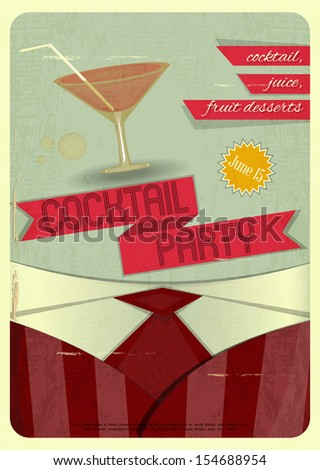 Retro card. Invitation to cocktail party in vintage style. JPEG version - stock photo