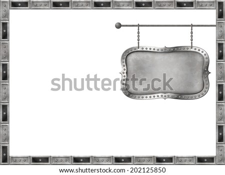 Retro card with distressed metal signboard on the chains - stock photo