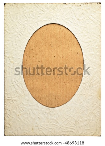 Retro cardboard photo frame with ellipse vignette and empty space inside - stock photo