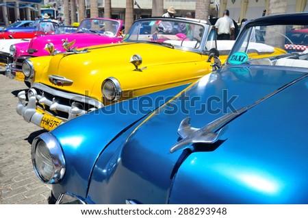 Retro cars in Havana, Cuba on May 4, 2013. - stock photo