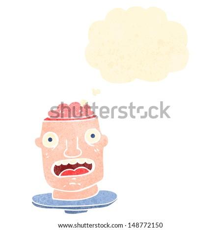 retro cartoon gross head with exposed brain - stock photo