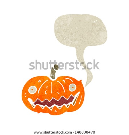 retro cartoon halloween pumpkin with speech bubble