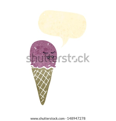 retro cartoon ice cream cone - stock photo