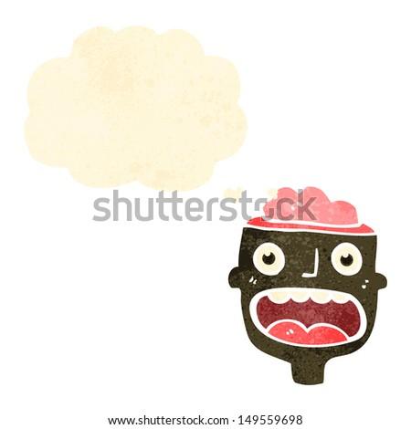 retro cartoon man with open brain - stock photo