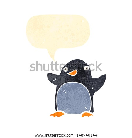 retro cartoon penguin with speech bubble - stock photo