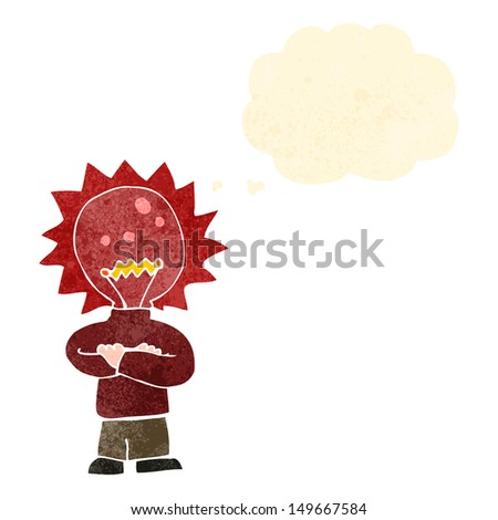 retro cartoon red light bulb head man with thought bubble - stock photo