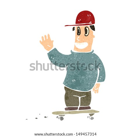 retro cartoon skater boy