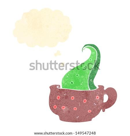 retro cartoon tentacle in teacup - stock photo