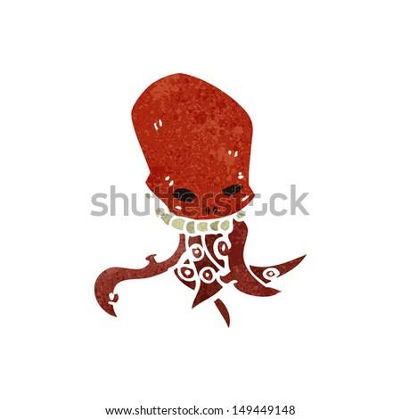 retro cartoon tentacle skull - stock photo