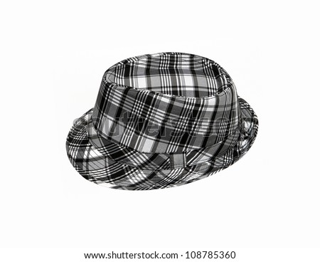Retro Checked Plaid Fedora Hat isolated on a white background - stock photo