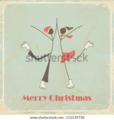 Retro Christmas card: teenagers on a skating ring  - stock photo
