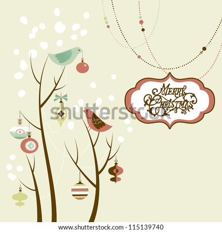 Retro Christmas card with two birds, white snowflakes, winter trees and baubles - stock photo