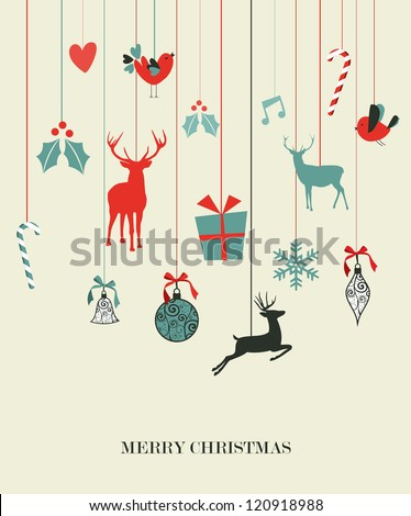 Retro Christmas hanging elements set. - stock photo