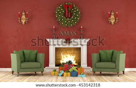 Retro christmas interior with two green armchair and present and classic fireplace - 3d rendering - stock photo