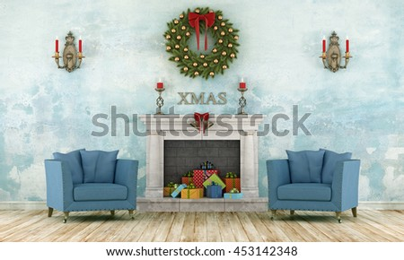 Retro christmas interior with two leather armchair and present in a classic fireplace - 3d rendering - stock photo