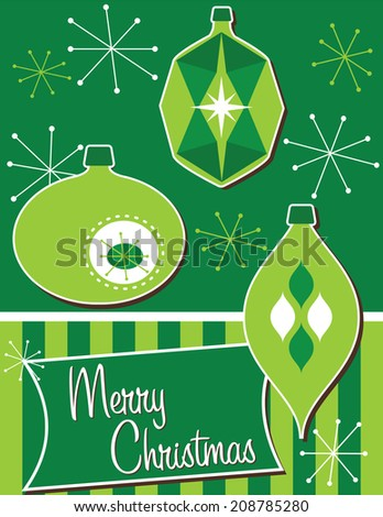 Retro Christmas Ornaments-Merry Christmas card or poster with three retro ornaments - stock photo