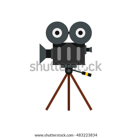 Retro cinema camera icon in flat style on a white background