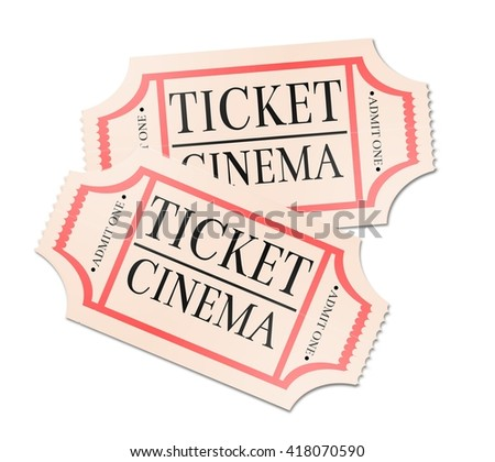 Retro cinema ticket isolated on white background.