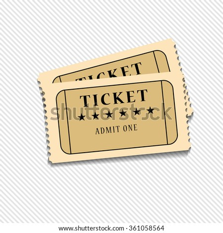 Retro cinema tickets on white background illustration