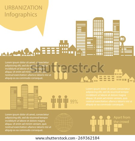 Retro City Skyline Background with Infographic  - Vector Illustration - stock photo
