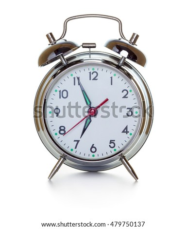 Retro classic alarm clock isolated on white background