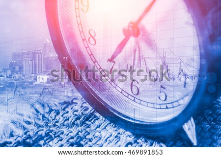 retro clock face at 7 o'clock morning layer with metro city and business stock with blue  color tone, morning business working concept.