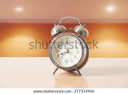Retro clock in office room background